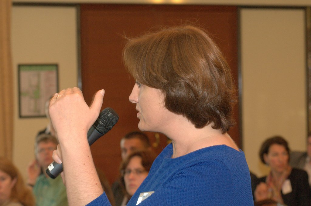 Participant asking a question to the panel